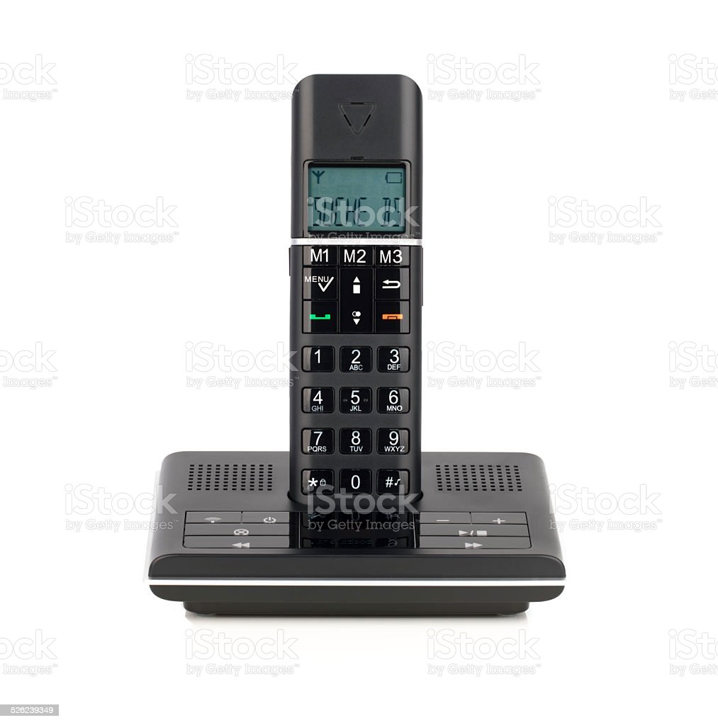 Black cordless telephone on white isolated on white stock photo