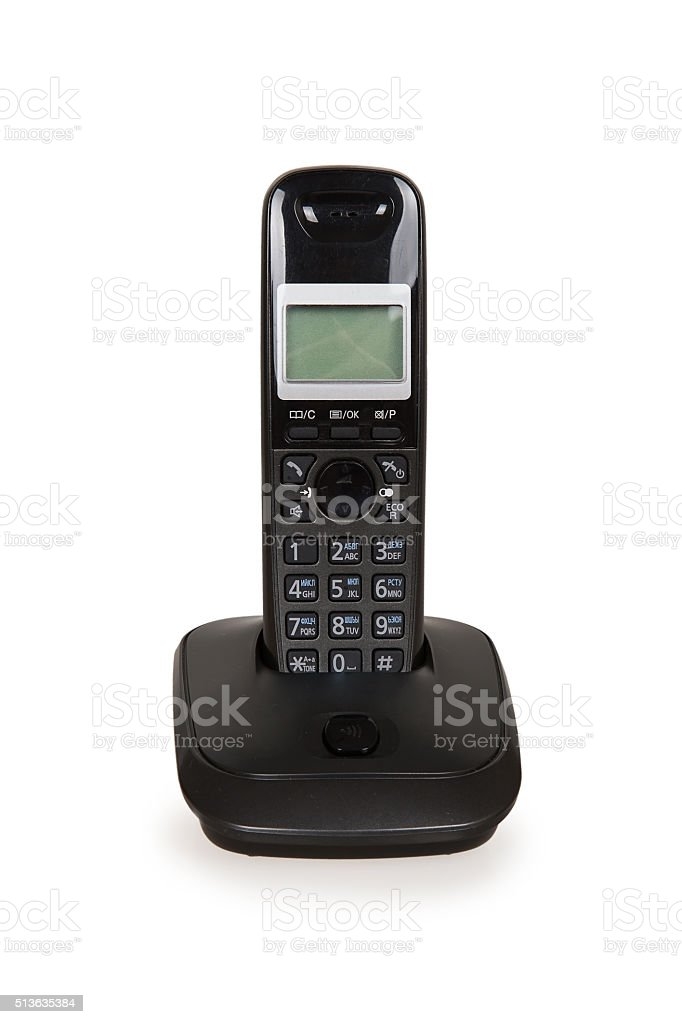 Black cordless telephone stock photo
