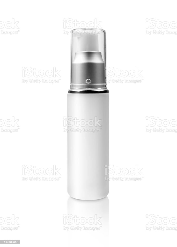 black cosmetic packaging silver serum bottle isolated on white w stock photo