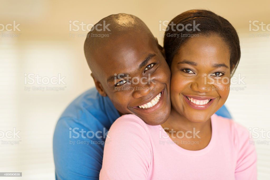 black couple looking at the camera stock photo