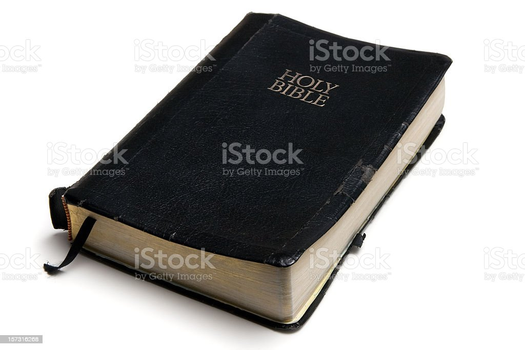 Black covered Bible stock photo