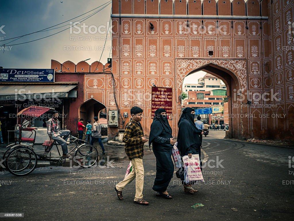 Black covered muslim women walking in Jaipur India stock photo