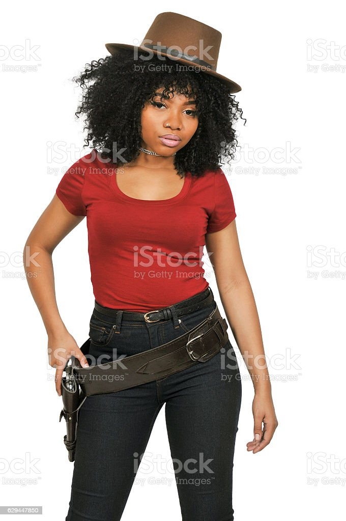 Black Cowgirl with relvolver stock photo