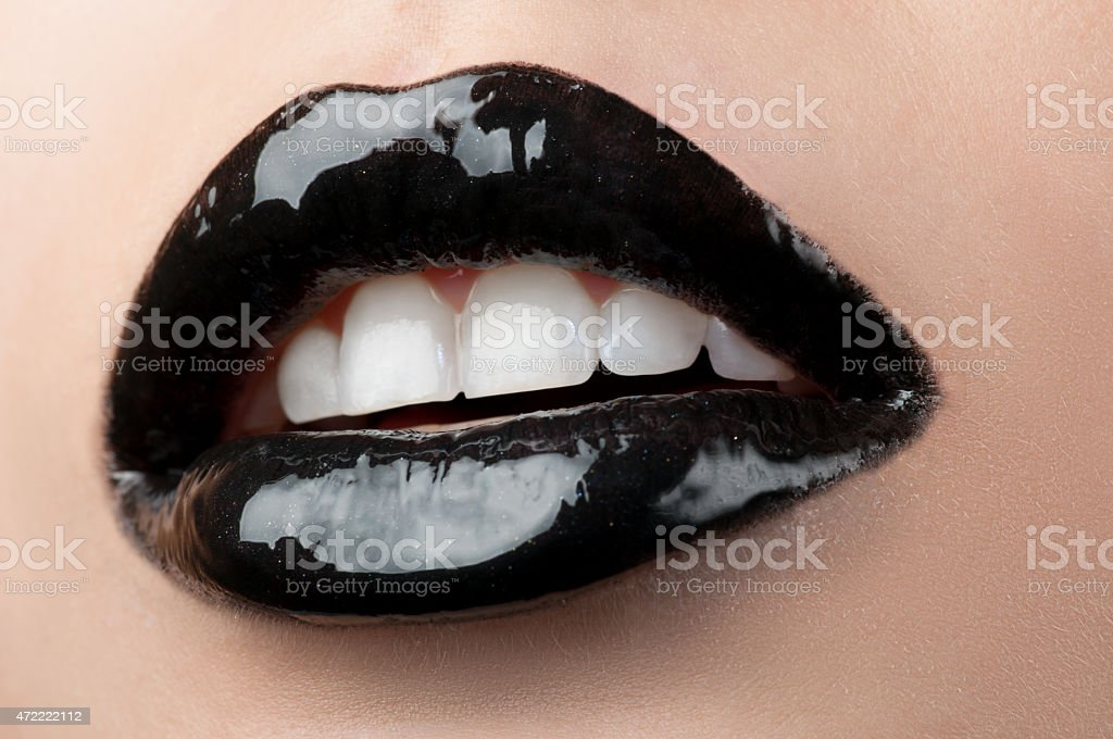 Black creative lips . stock photo
