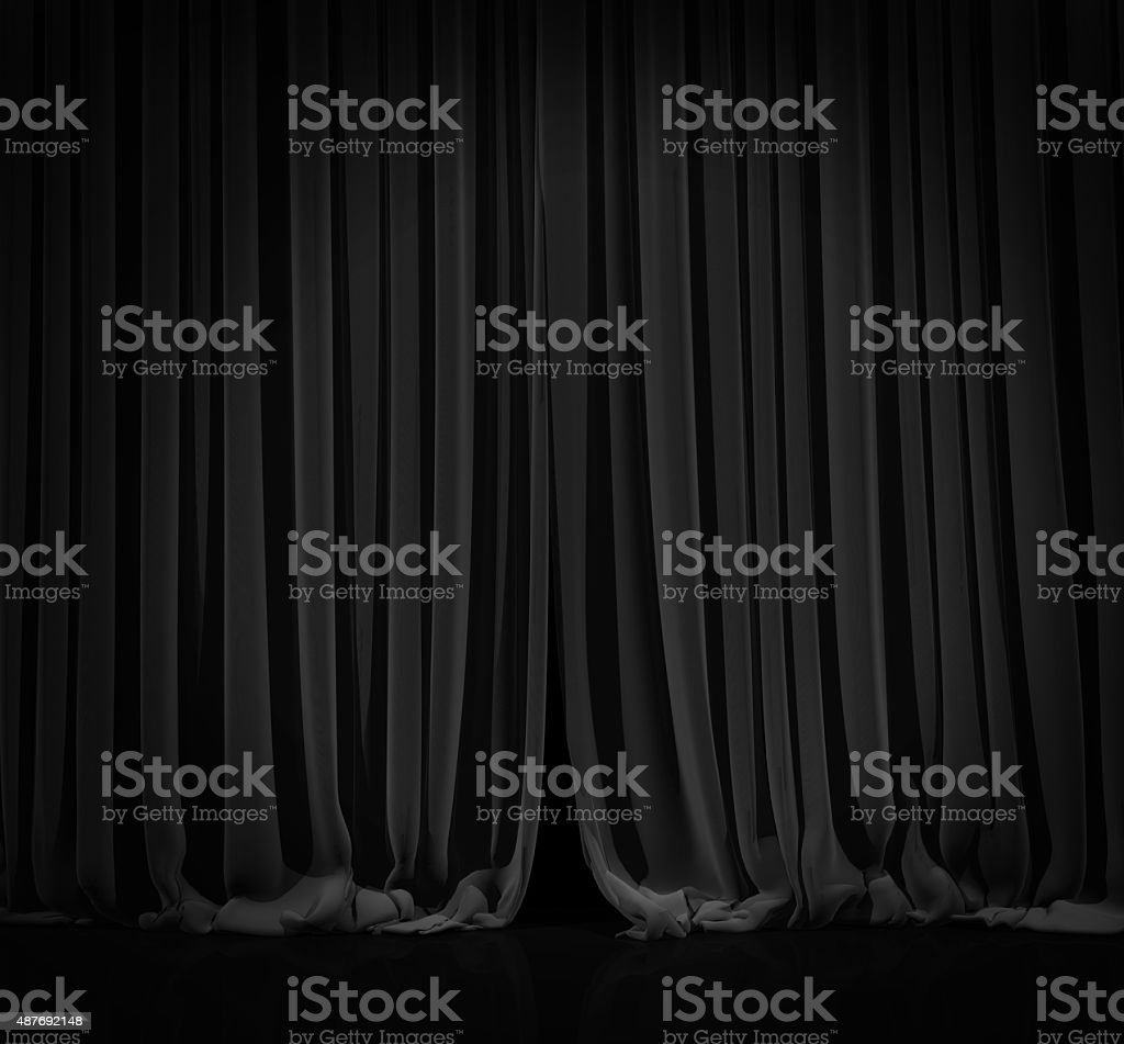 Black curtain in theater. stock photo