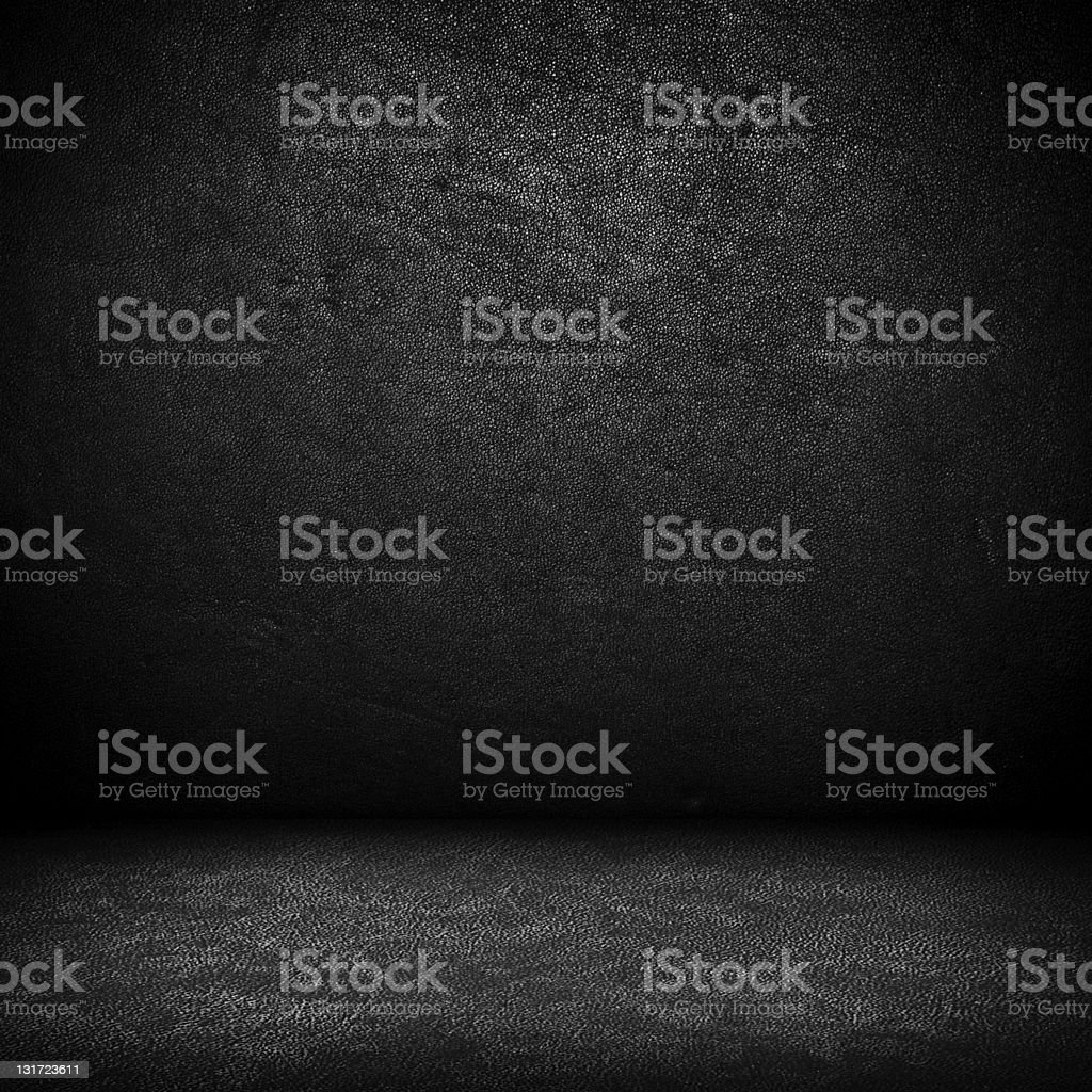 Black dark leather wall and floor background royalty-free stock photo
