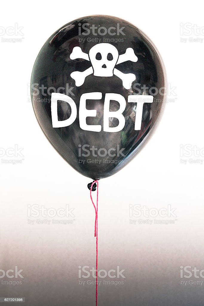 Black debt balloon bubble stock photo