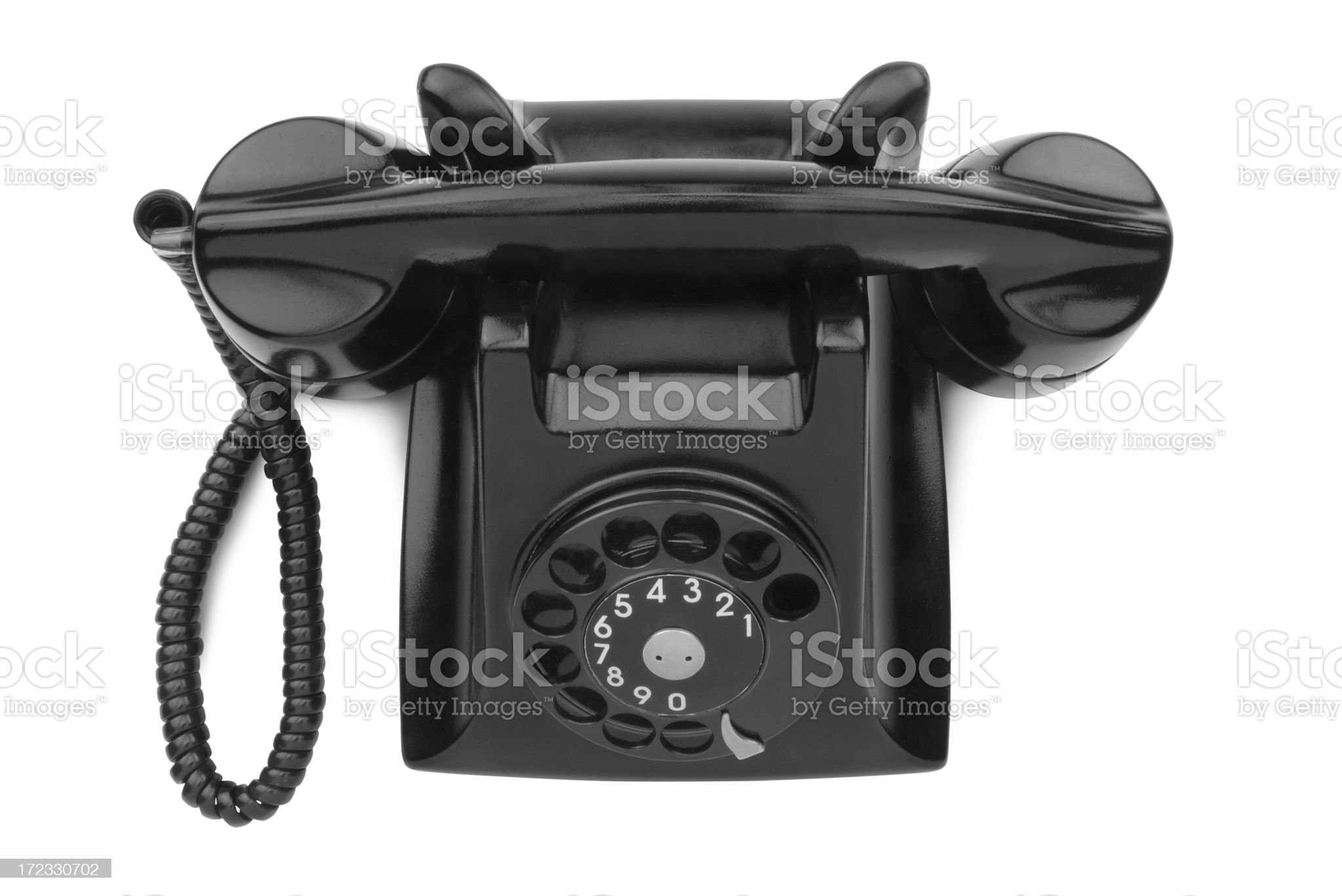 Black Desk Phone with Path royalty-free stock photo