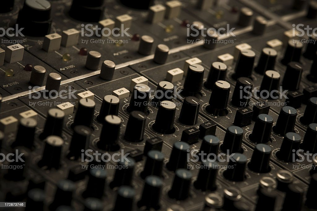 Black Dials White Buttons On Sound Board royalty-free stock photo