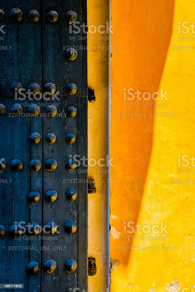 Black Door at the Royal Alcazar in Seville stock photo