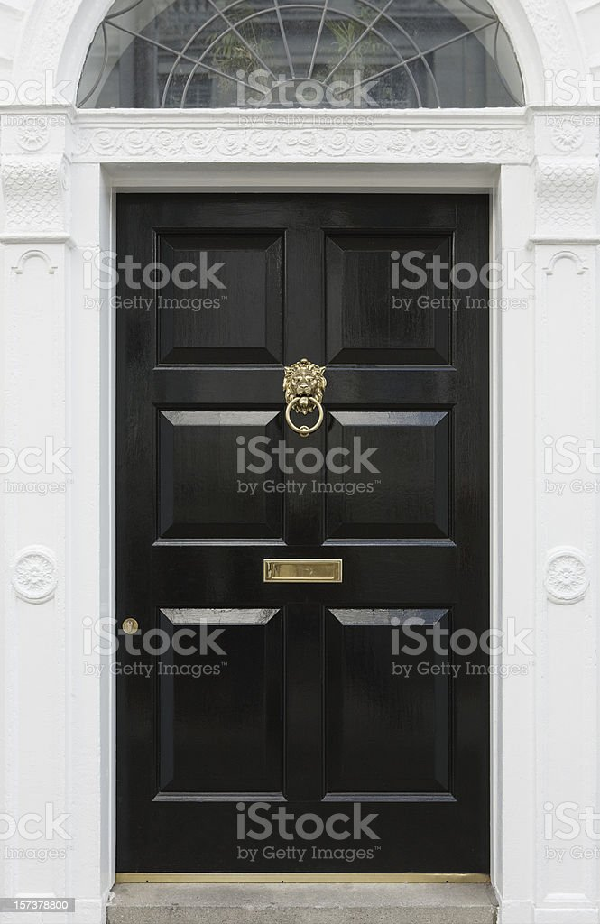 Black door, beautiful entryway in Dublin, Ireland royalty-free stock photo