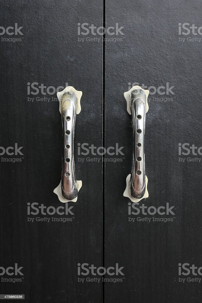 Black door closet stock photo