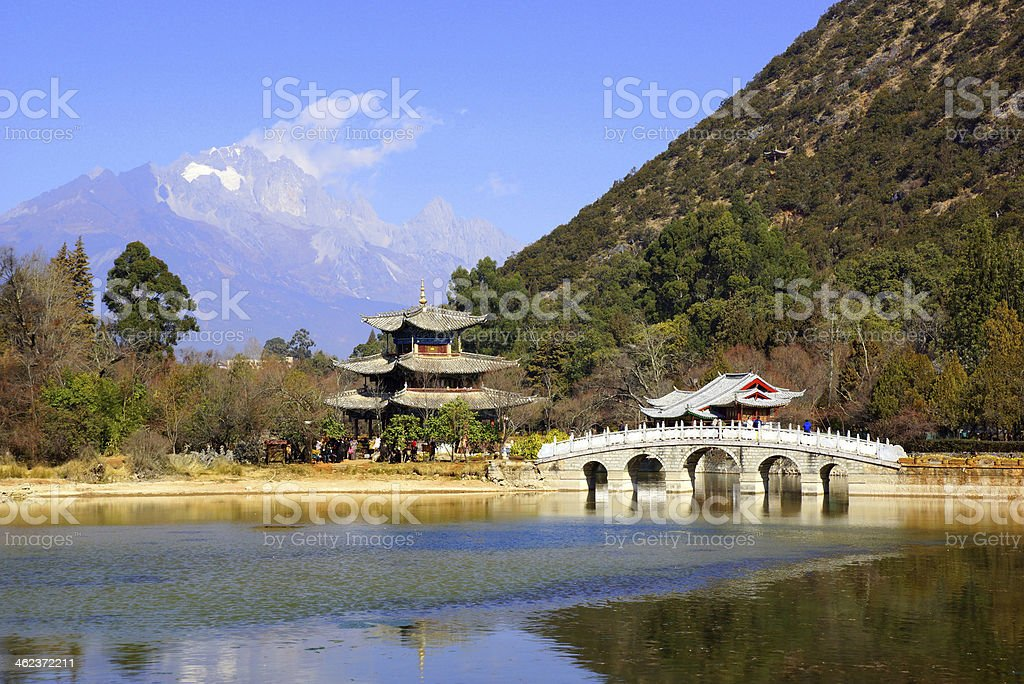 Black Dragon Pool and Snow Mountain in Lijiang, Yunnan, China stock photo