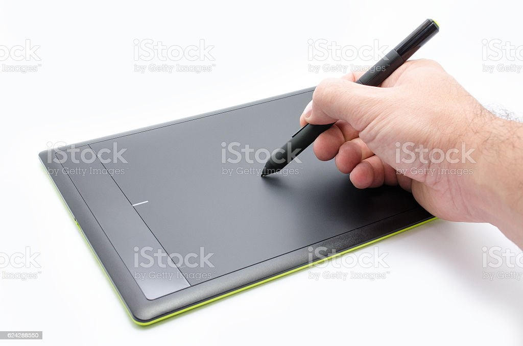 Black drawing graphic tablet isolated stock photo