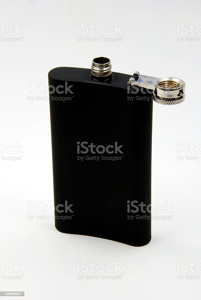 Black Drinking Flask - Back - Open royalty-free stock photo