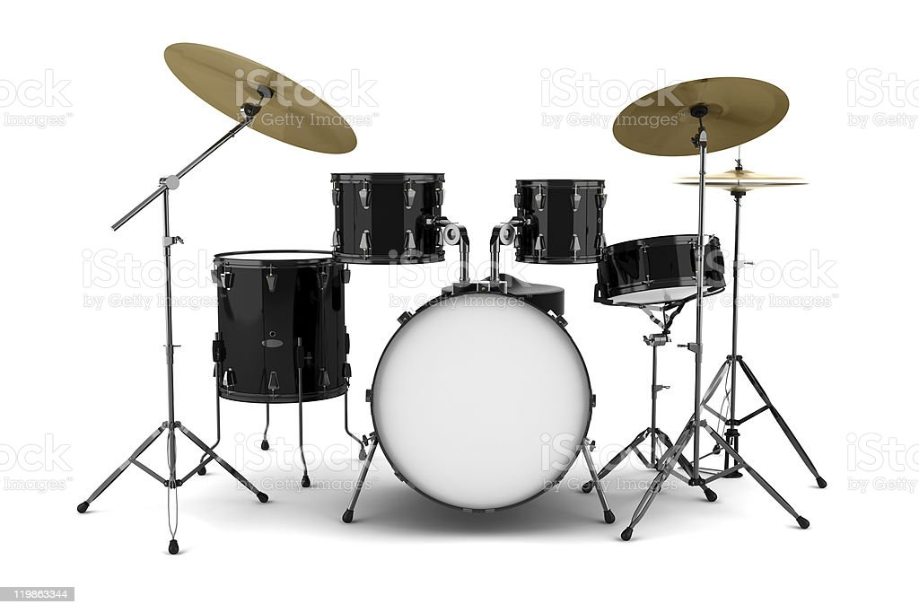 black drum kit isolated on white background stock photo