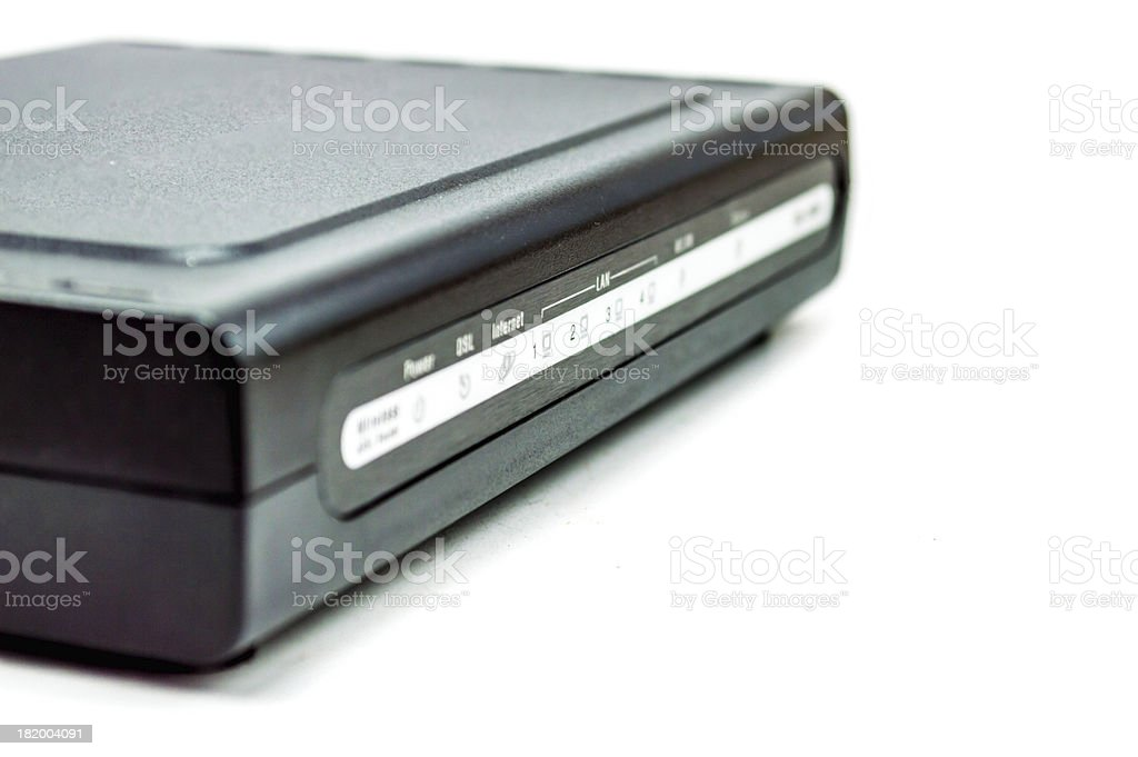 black DSL router front side stock photo