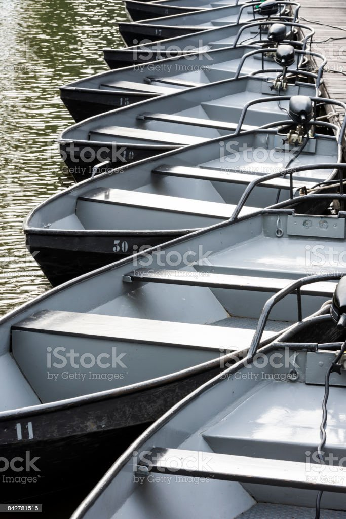 Black Electric Boats Giethoorn stock photo
