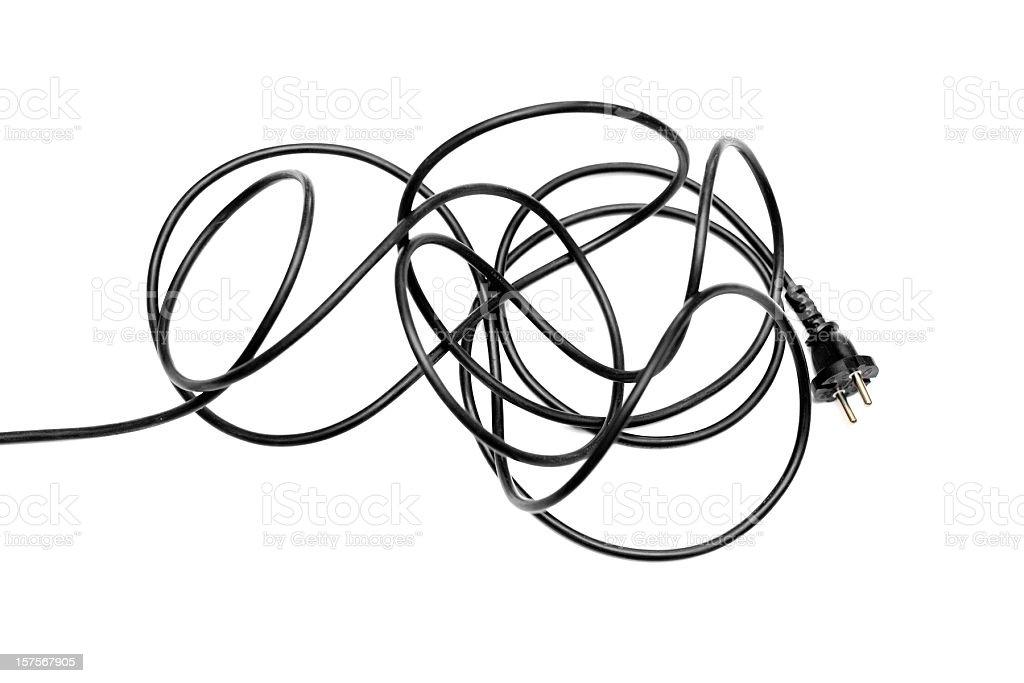 Black electric cable muddle isolated on white stock photo