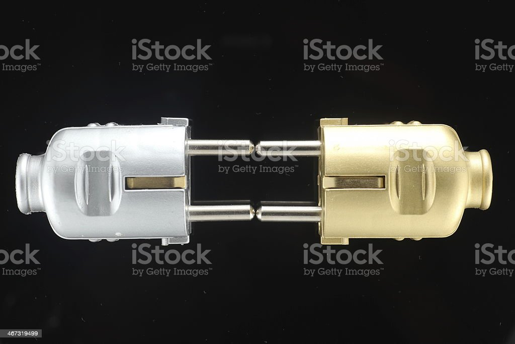 black electric cables with plugs stock photo