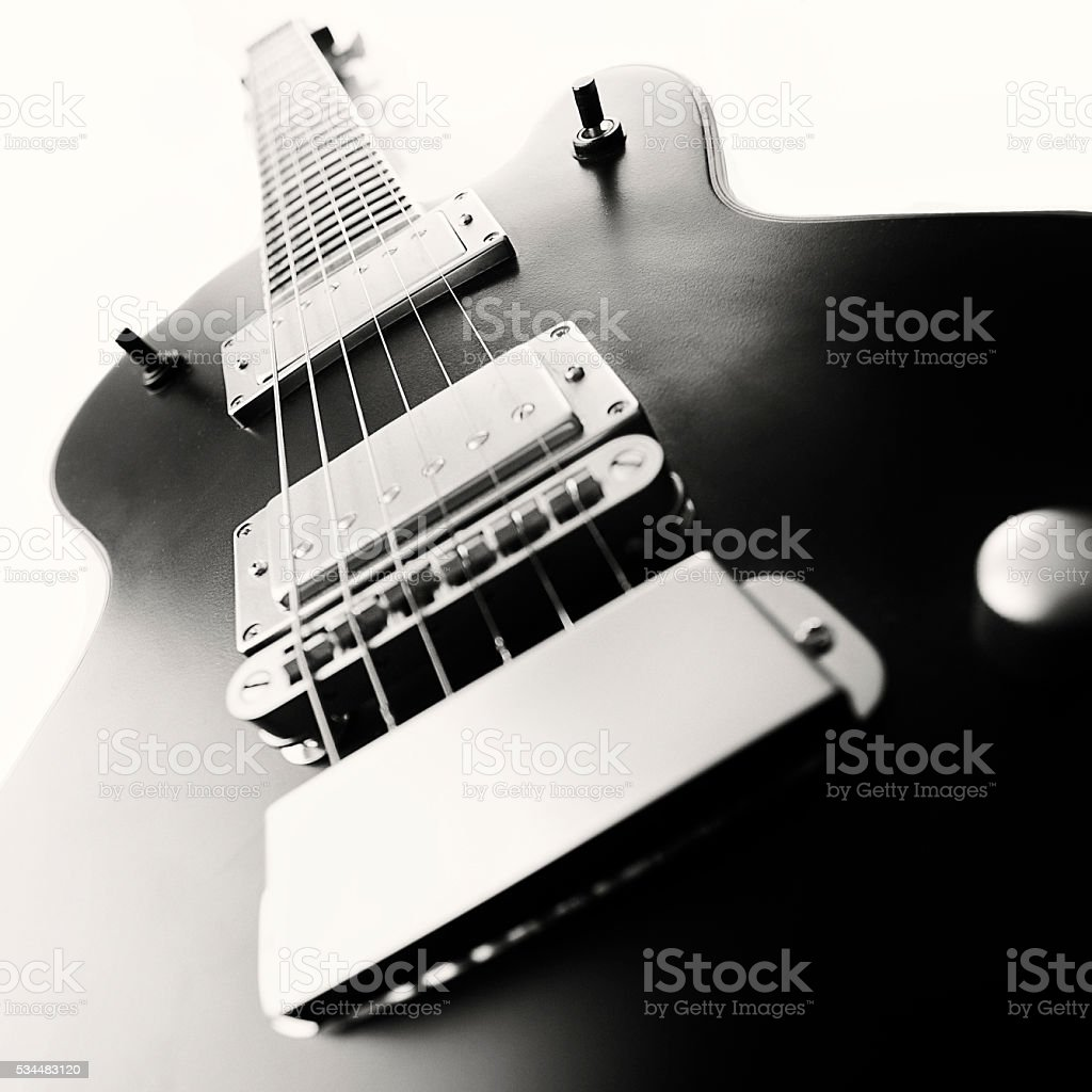 Black electric guitar stock photo