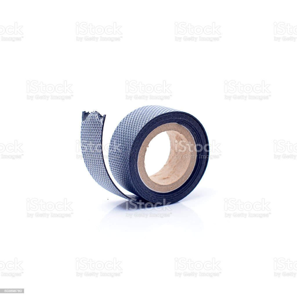 black electrical tape isolated on white background stock photo