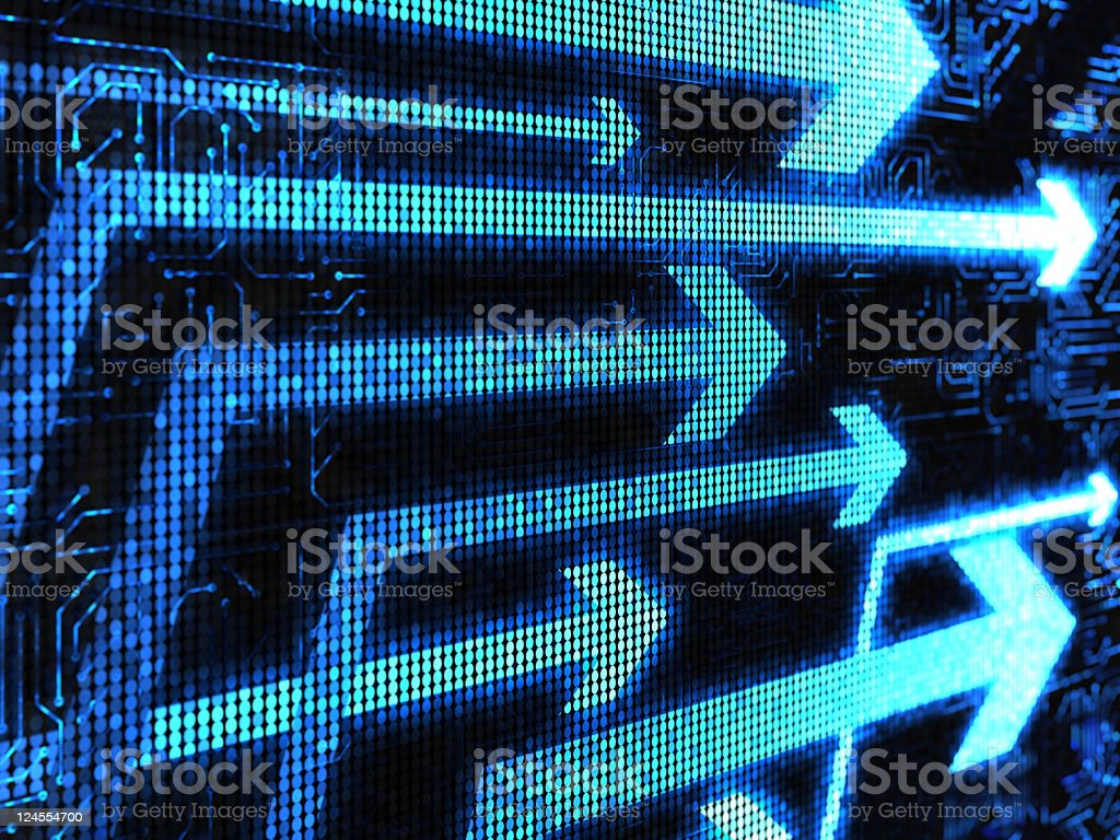 A black electronic screen with blue arrows pointing right royalty-free stock photo