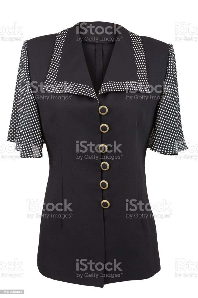 Black elegant blouse with dotted collar and sleeves, isolated over white stock photo