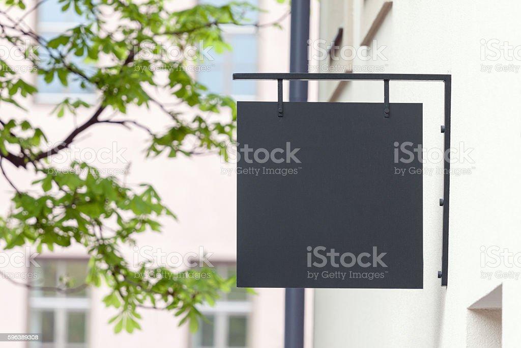 Black empty signage mockup stock photo