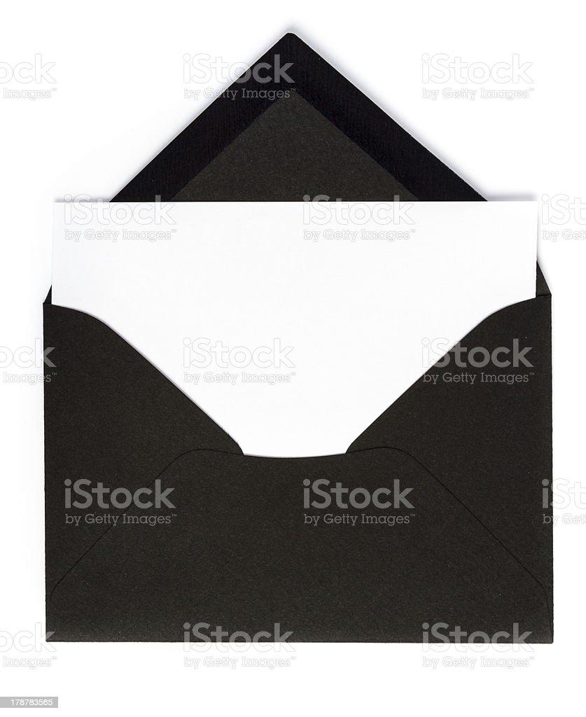 Black envelope (Clipping Path) stock photo