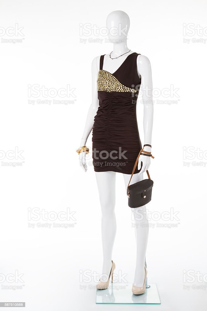Black evening dress on mannequin. stock photo