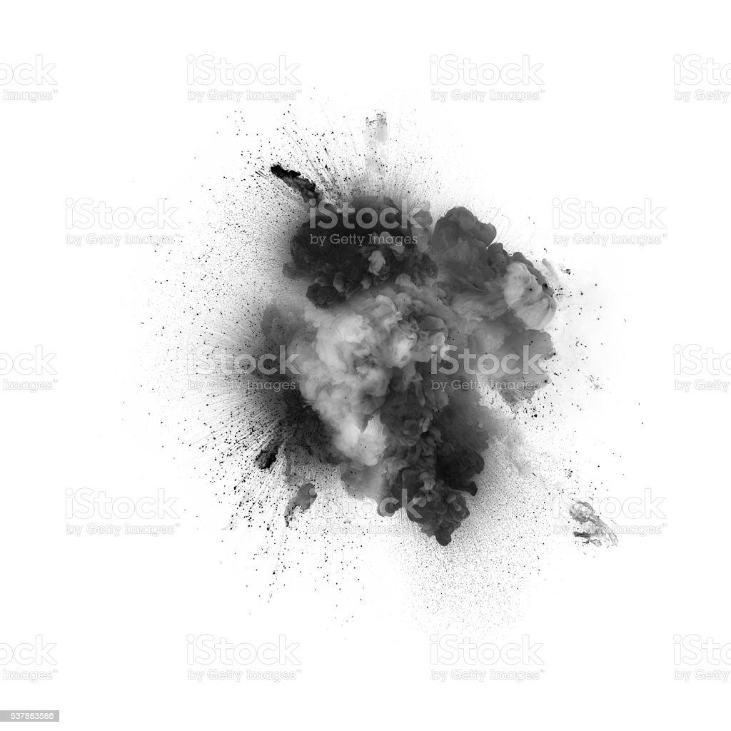 Black explosion isolated on white background stock photo