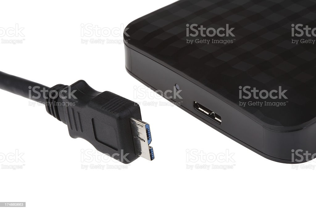Black external hard disk on white background royalty-free stock photo