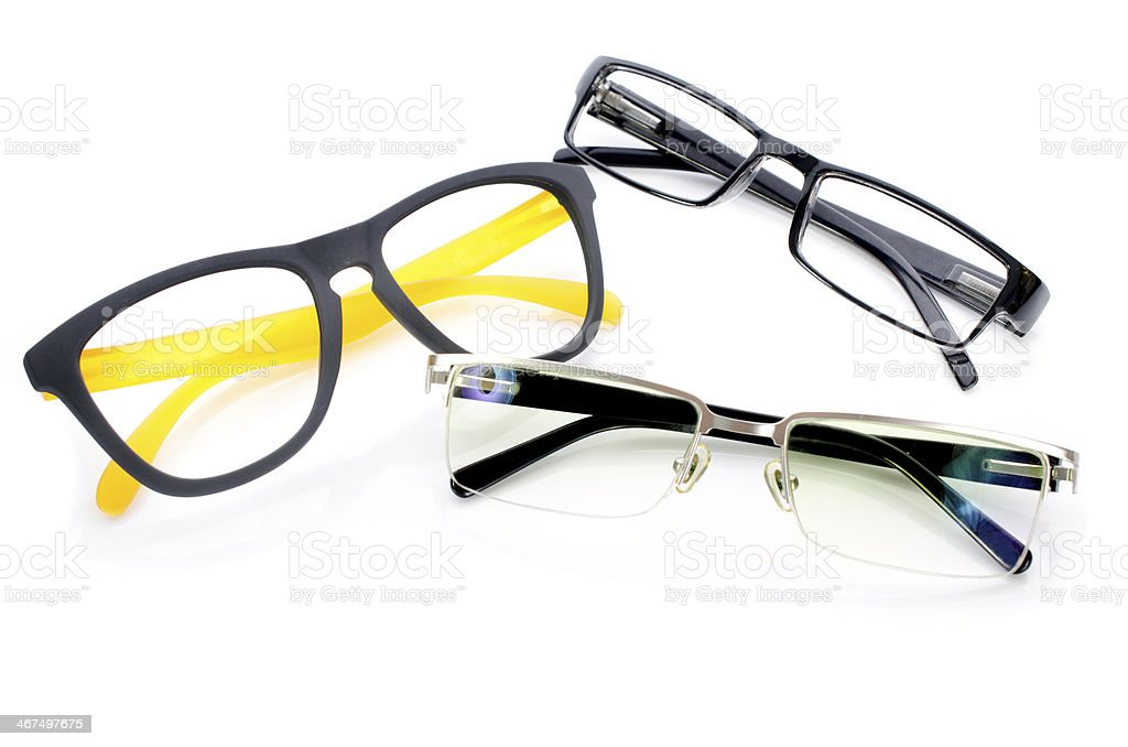 Black Eye Glasses Isolated on White royalty-free stock photo