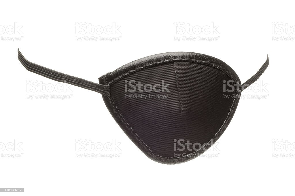 A black eye patch on a white background royalty-free stock photo
