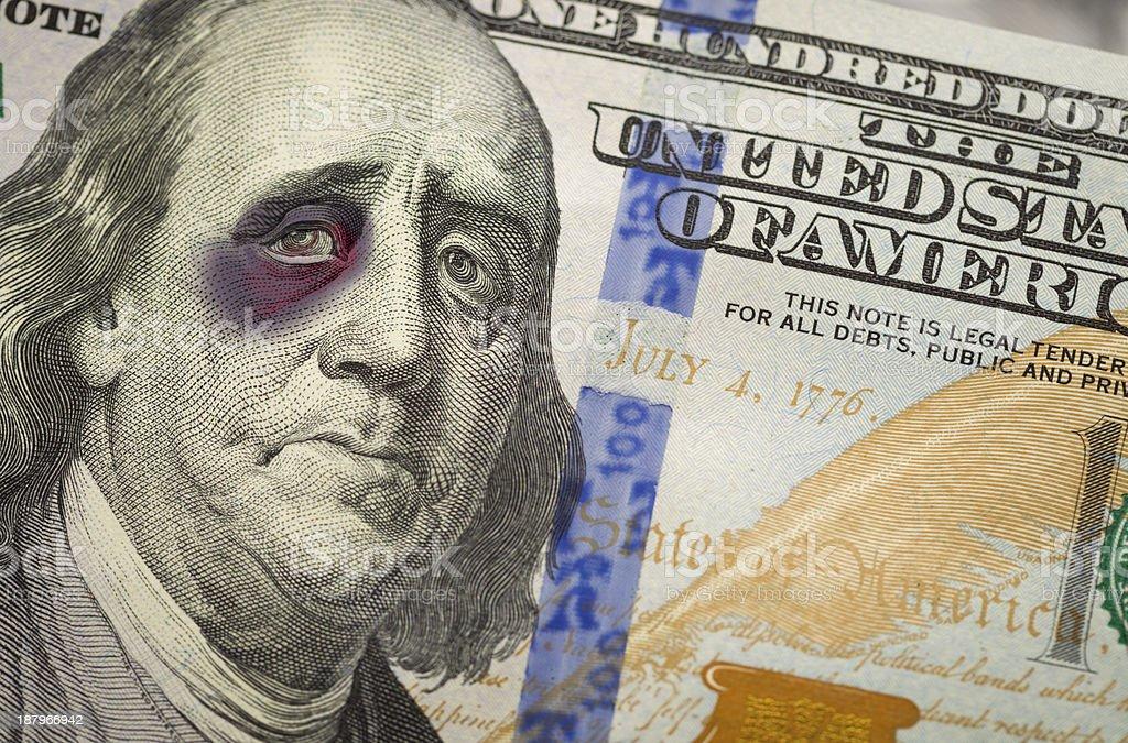 Black Eyed Ben Franklin on New One Hundred Dollar Bill stock photo