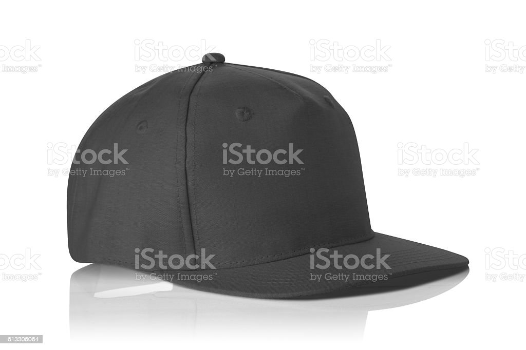 Black fabric cap isolated on a white. stock photo