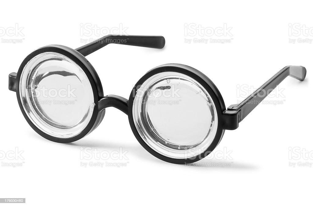Black fancy dress nerd glasses isolated on white royalty-free stock photo