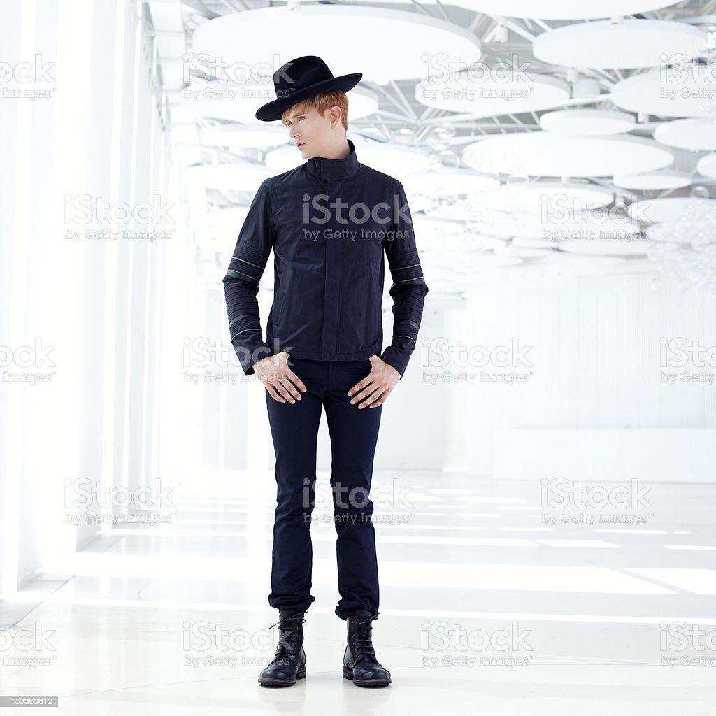 black far west modern fashion man with hat stock photo