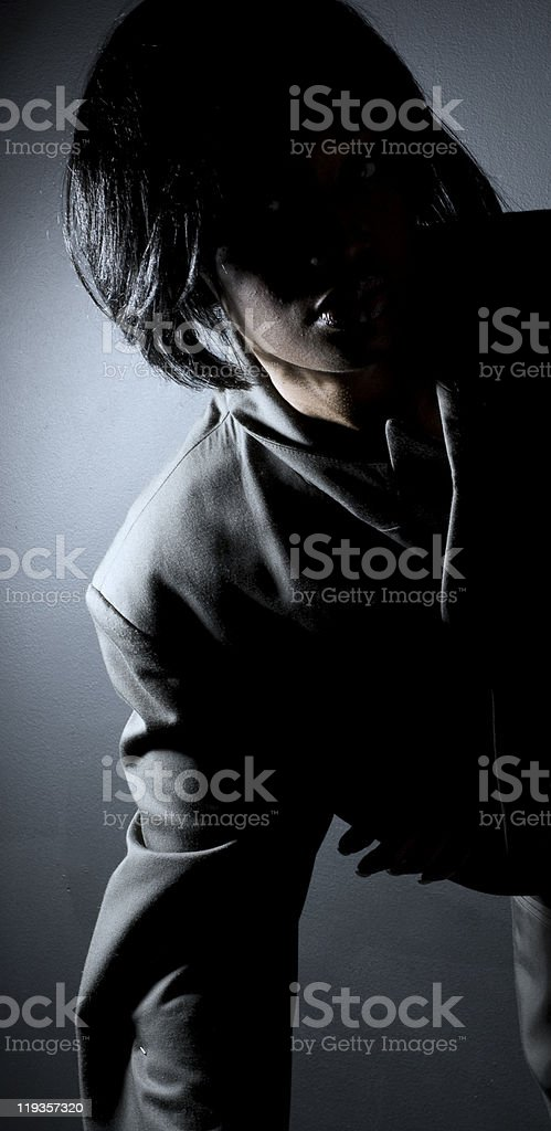 Black Fashion Model With Shadowed Face royalty-free stock photo