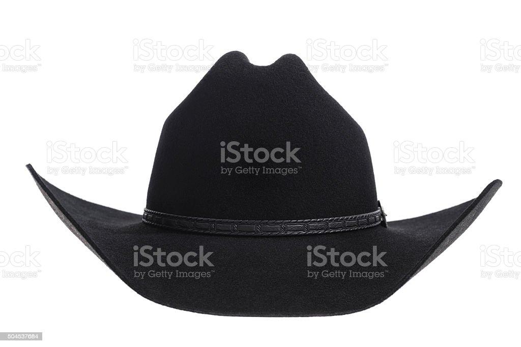 Black felt Cowbot hat on white background stock photo