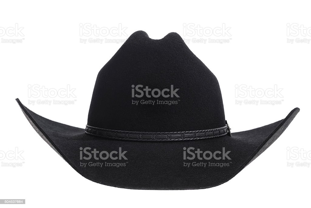 Black felt Cowbot hat on white background stock photo