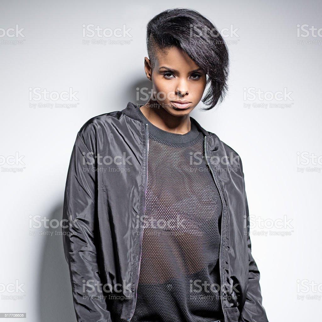 black female fashion model posing stock photo