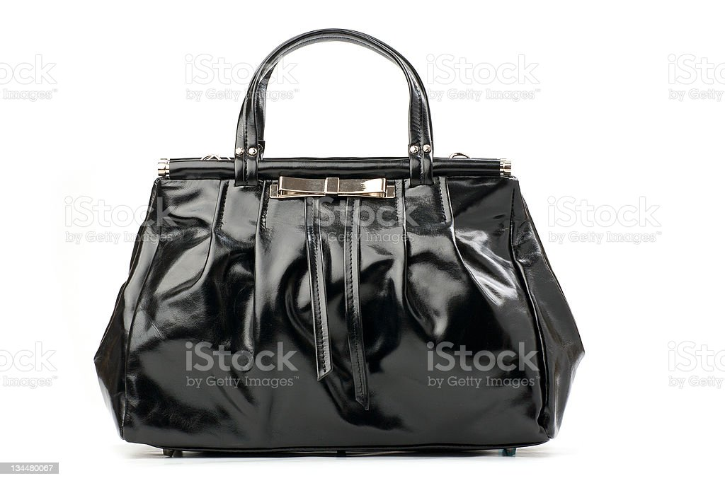 Black female handbag over white stock photo