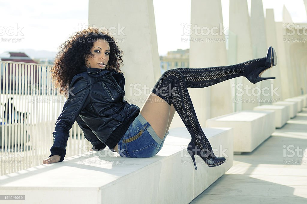 Black female model at fashion with high heels royalty-free stock photo