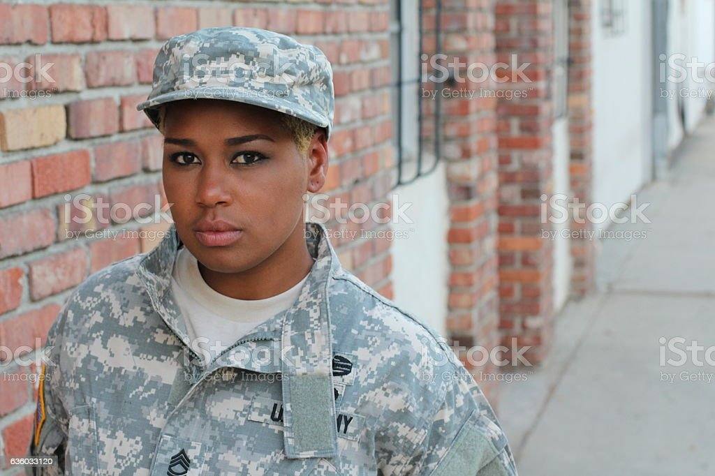 Black Female Soldier with Space for Copy stock photo