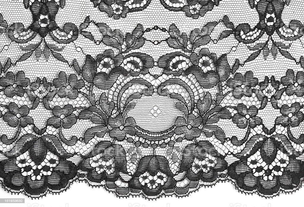 Black fine lace floral texture stock photo
