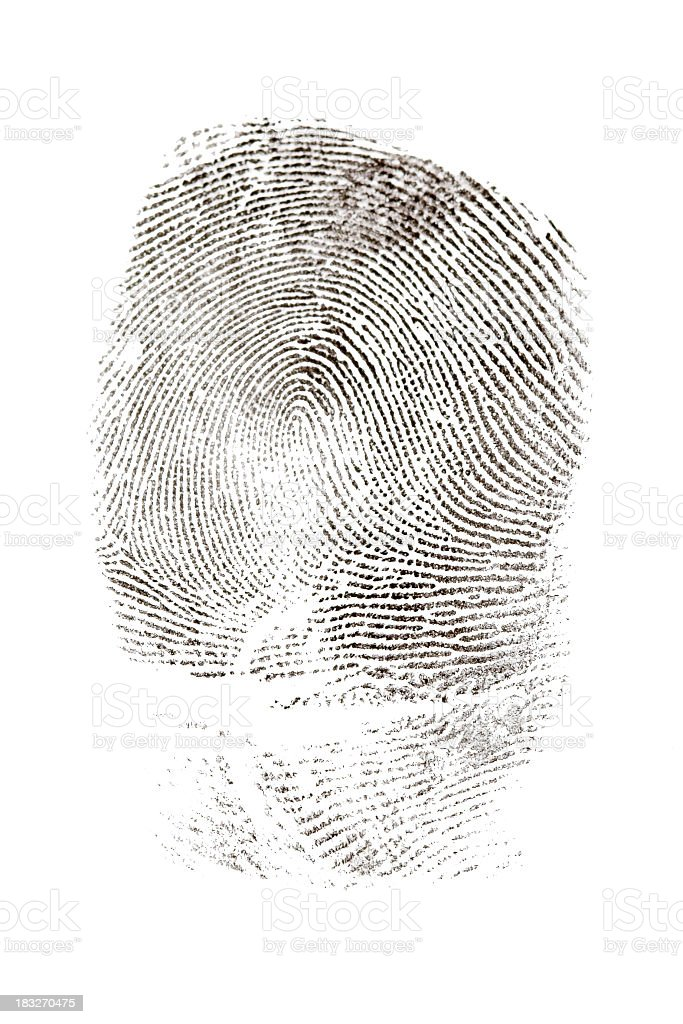 Black fingerprint image on white background stock photo