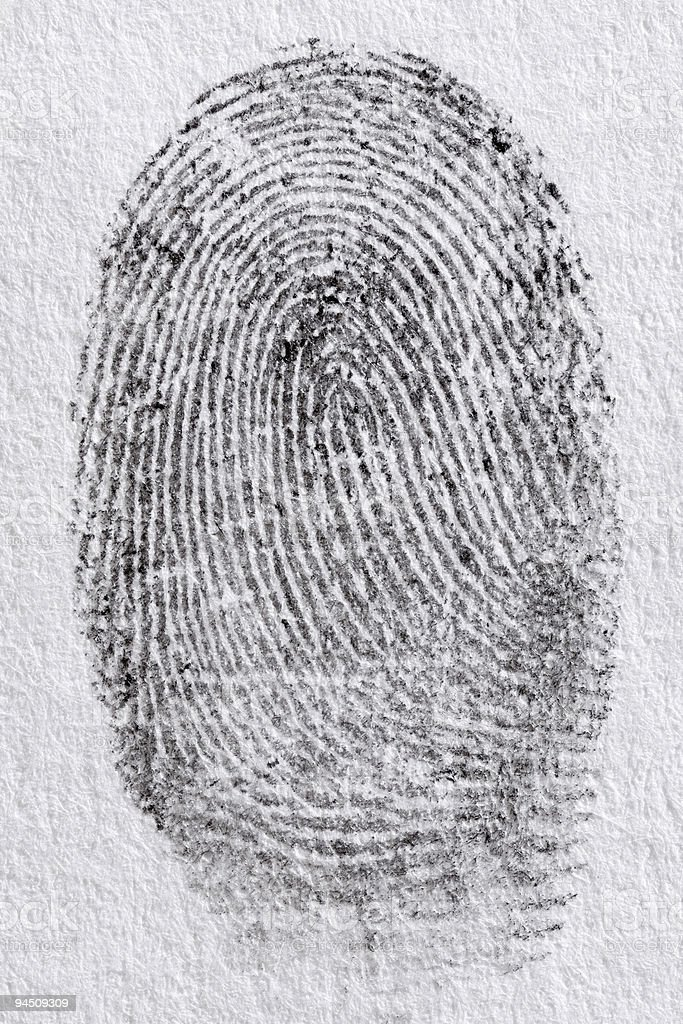 Black fingerprint on white paper royalty-free stock photo