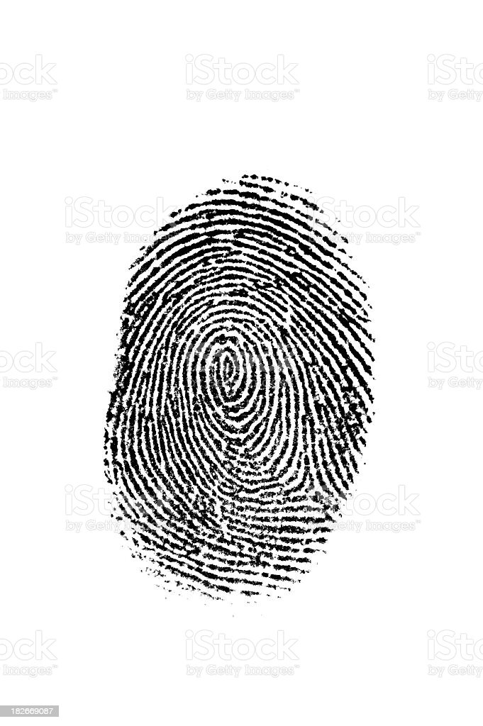 Black Fingerprint on White stock photo